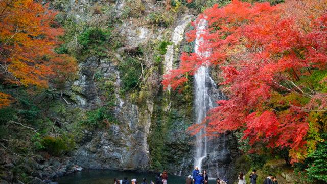 大阪・箕面の滝の紅葉