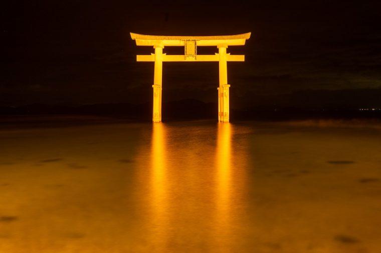 白髭神社の大鳥居 ライトアップ