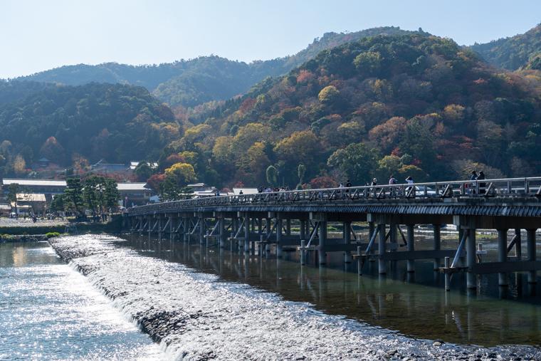 嵐山渡月橋と紅葉